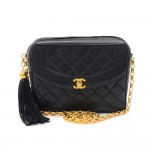 Vintage Chanel Black Quilted Lambskin Leather Font Pocket & Tassel Shoulder Bag