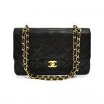 """Vintage Chanel 2.55 10"""" Double Flap Black Quilted Leather Shoulder Bag"""