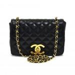 """Vintage Chanel 8.5"""" Black Quilted Lambskin Leather Large CC Logo Flap Shoulder Bag"""