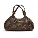 Fendi Tobacco Zucca Wool & Brown Leather Shoulder Bag
