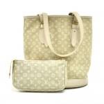 Louis Vuitton Bucket PM White Dune Mini Lin Monogram Canvas Shoulder Bag