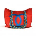 Vintage Chanel Red & Blue Nylon Jumbo Shopping Tote Bag