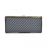 Christian Dior Logo Monogram Navy Jacquard Fabric Clutch Bag
