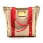 Louis Vuitton Cabas MM Beige x Red Antigua Canvas Tote Bag