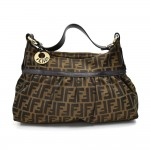 Fendi Chef Tobacco Zucca Print Canvas & Brown Leather Hobo Bag