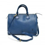 Vintage Louis Vuitton Speedy 25 Blue Epi Leather City Handbag + Strap