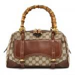 Gucci Bamboo Handles GG Canvas Front Pocket Small Boston Bag