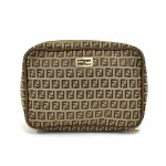 Fendi Beige Zucchino Canvas Toiletry Cosmetic Travel Bag