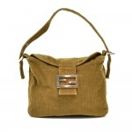 Fendi Khaki Green Corduroy  Hobo Bag