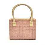 Chanel Pink CC Logo Plastic Puzzle & White Leather Handbag