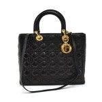 Christian Dior Lady Dior Large Black Quilted Cannage Leather Handbag + Strap