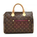 Louis Vuitton Perforated Speedy 30 Monogram Canvas Fuchsia Leather City Handbag - 2006 Limited