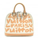 Louis Vuitton Alma MM Graffiti Beige & White Leather Handbag-Stephen Sprouse 2001