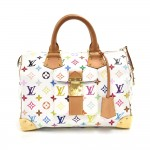 Louis Vuitton Speedy 30 White Multicolor Monogram Canvas City Handbag