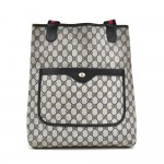 Vintage Gucci Accessory Collection Navy GG Supreme Monogram Coated Canvas Shopper Tote Bag