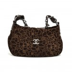 Chanel Camellia Pattern Brown Suede Leather Chain Shoulder Hobo Bag