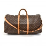 Vintage Louis Vuitton Keepall 60 Bandouliere Monogram Canvas Duffel Travel Bag + Strap