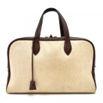 Hermes Victoria 45 Beige Canvas x Burgundy Leather Large Boston Bag