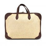 Vintage Hermes Beige Coated Canvas & Burgundy Leather Large Soft Sided Suitcase