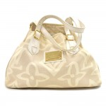 Louis Vuitton Tahitienne Cabas PM  Beige Canvas & White Leather Tote Bag