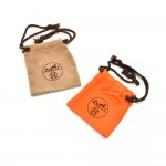 Hermes Beige Velveteen & Orange Cotton Dust Bag For Small Items- Set of 2