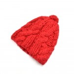 Prada Unisex Red Wool Pom-pom Knit Hat-Size M