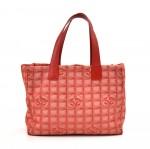 Chanel Travel Line Red Jacquard Nylon Medium Tote Bag