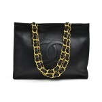 Chanel Jumbo XL Black Leather Shoulder Shopping Tote Bag