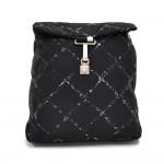 Vintage Chanel Travel Line Black & White Check Nylon Backpack
