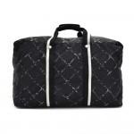 Vintage Chanel Travel Line Black & White Check Pattern Nylon Large Boston Bag