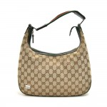 Gucci GG Original Canvas & Green and Red Horsebit Pattern Hobo Bag
