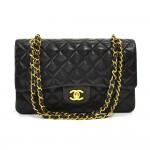 Vintage Chanel 2.55 10inch Double Flap Black Quilted Leather Shoulder Bag