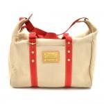 Louis Vuitton Sac Weekend Beige & Red Antigua Canvas Boston Bag
