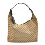 Gucci Beige GG Canvas & Black Leather Large Travel Size XL Hobo Bag