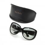 Gucci Black Oversized Rhinestone GG Logo Sunglasses + Case