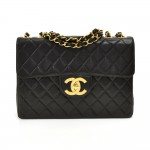 "Vintage Chanel 12"" Black Quilted Lambskin Leather Classic Flap Shoulder Bag"