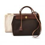 Hermes Herbag 30 PM 2 in 1 Canvas Brown & Beige Leather Shoulder Bag