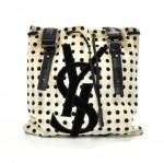 Saint Laurent White & Black Polka Dot Canvas & Black Velvet YSL Logo Tote Bag