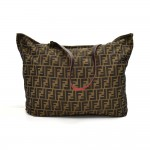 Fendi Tobacco Zucca & Leopard Print  & Red Leather Soft Reversible Tote Bag