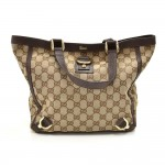 Gucci D-ring Beige GG Original Canvas & Brown Leather Small Tote Bag