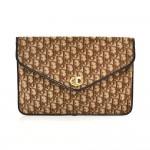 Vintage Christian Dior Logo Brown Jacquard Fabric Clutch Bag