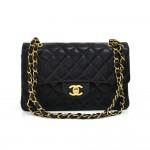 """Vintage Chanel 2.55 Classic Flap Black Quilted Leather Shoulder Bag 9"""""""