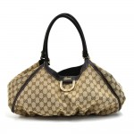Gucci Beige GG Original Canvas D-Ring Hobo Bag