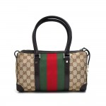 Gucci GG Original Canvas Wide Striped Web Small Boston Bag