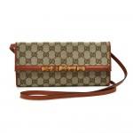 Gucci Bamboo GG Original Canvas & Calfskin Leather Clutch Shoulder Bag