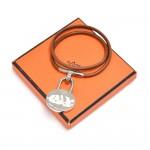 Hermes Année Méditerranée Cadena Charm Brown Leather Choker Bracelet
