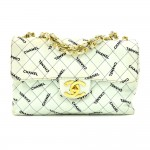 Vintage Chanel Light Mint Green Maxi Jumbo Logo Pattern Quilted Cotton Shoulder Flap Bag