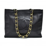 Vintage Chanel Jumbo XL Black Leather Shoulder Shopping Tote Bag