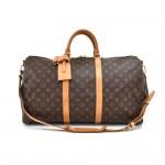 Louis Vuitton Keepall 50 Bandouliere Monogram Canvas Travel Bag + Strap