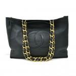 Vintage Chanel Jumbo Deep Green Lambskin Leather Shoulder Shopping Tote